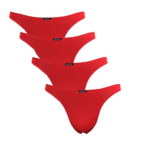 Fabio Farini 4er-Pack maskuline Herren String-Tangas in kräftigem Rot oder Nachtschwarz, Rot, Größe: L