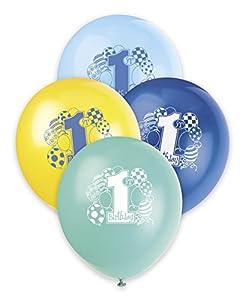 . Ênico Industrias 23.955 8 Count 12 en Blue Primeros cumpleaños hincha imprimió 1 lado - Paquete 144 St-ck