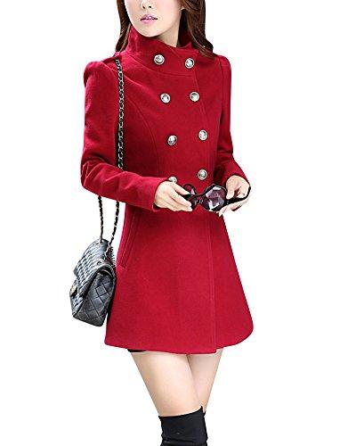 Damen Doppel-breasted Winter Mantel Jacket Stehkragen Wollmischjacke Rot L (Mantel Breasted)