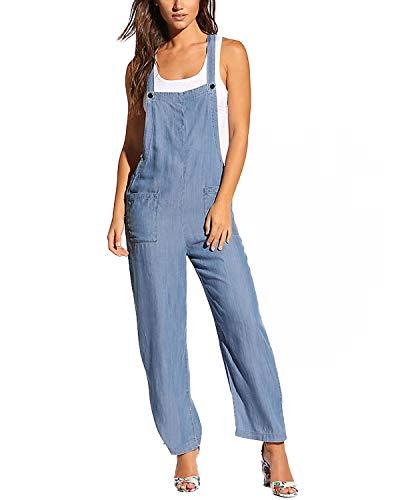 ACHIOOWA Mujer Chicas Peto Vaquero Mujer Tirantes Largo Pantalones Fiesta Noche Oficina Pantalones Azul Claro XL