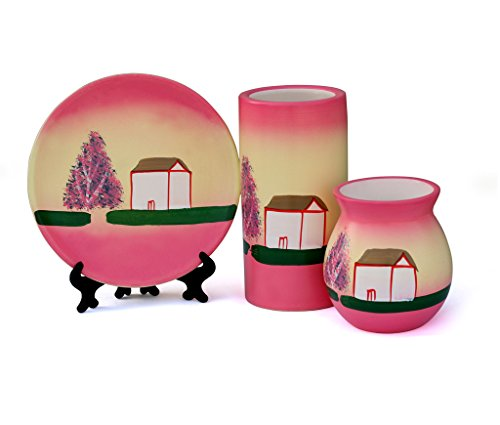 Tied Ribbons Hand painted Warli Miniature Vase, Decorative Plate and Pot- Handicrafts...