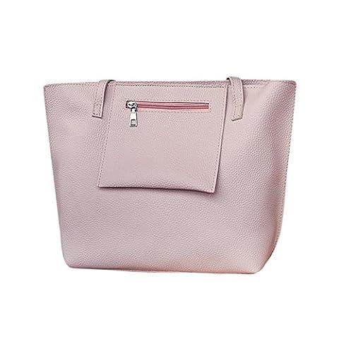 ESAILQ Sac à bandoulière en cuir pour femme 4Pcs + sac Crossbody + sac à main en embrayage + sac à main pour carte (Pink)