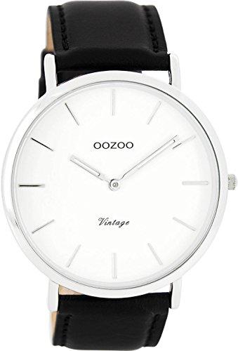 Oozoo Vintage Ultra Slim Leder 44 MM Weiss/Schwarz C7753