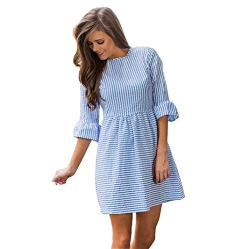 LILICAT Frauen Blusenkleid Knielang Kleid Herbst Damen Elegant Sommerkleid 3/4-Arm Rundhals Streifen Drucken A-Linie Kleid Minikleid Party Kleid (XL, Blau) (Stricken Bikini-muster)