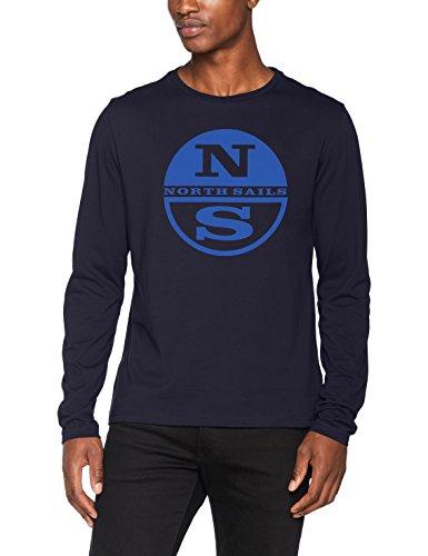 North Sails Herren T-Shirt L/S W/Print, Blu (Navy), Small