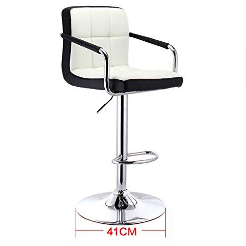 GJM Shop tabouret pivotant à 360 ° réglable en hau Similicuir + Coussin Éponge Rebond Chaise Pivotante De Réception Avec Accoudoirs Ascenseur À Gaz De Sécurité Chaise Pivotante 360 ° Européen Chaise De Bar Dossier De 30cm Ménage Bar Tabouret Haut Châssis Diamètre 41cm --- Sponge + Leatherette / surface de chaise en bo ( Couleur : 2 )