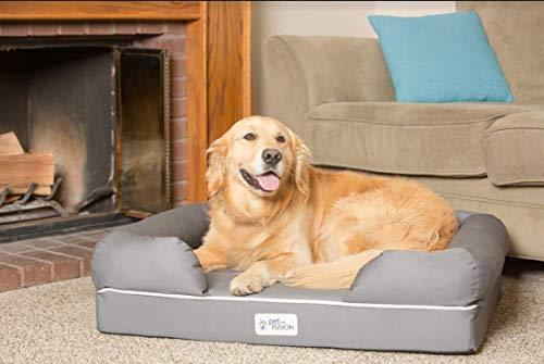 PetFusion Hundebett und -Lounge. Premium Edition aus stabilem Kaltschaum mit Memory-Effekt (Grau, 92 x 71 x 23 cm) – [Ersatzbezüge erhältlich] - 8