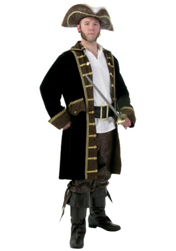 Men's Plus Size Realistic Pirate Fancy dress costume (Kostüm Plus Pirate Size Mens)