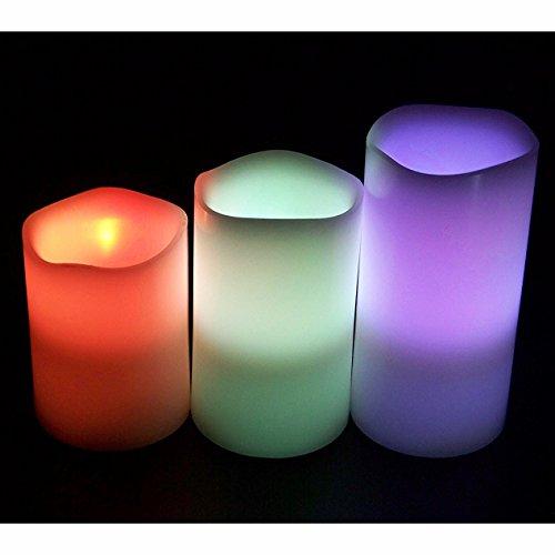 Gearmax Color llevado que cambia la batería Operado velas hechas fuera de la cera verdadera,3 velas sin llama eléctrica de cera real sin llama parpadeo led té luz realista con mando a distancia 4/5/plateado funciona con pilas