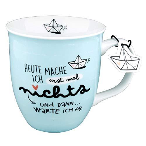 Happy Life 46259 Porzellan-Tasse mit maritimen Motiv Heute mache ich erstmal nichts, mit Geschenk-Anhänger in Schiffform