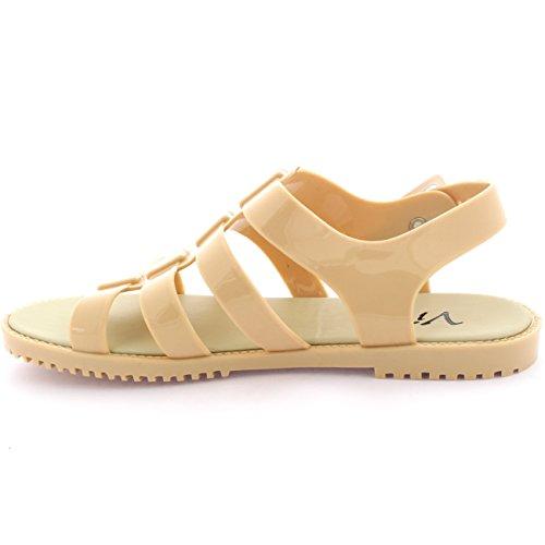 Damen Fesselriemen Gelee Sommer Peep Toe Schnalle Festival Sandalen Nackt