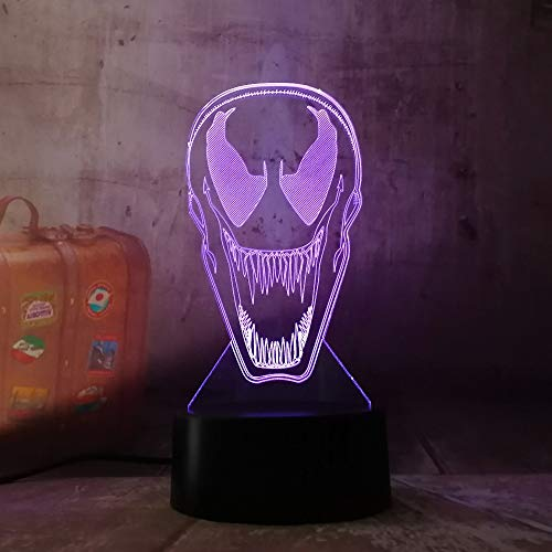 Luz Nocturna Optical Illusion Lamp Amroe New Dc Cool Venom Spider Man Figure Mask 3D 7 Color Led Gradient Night Light Kids Lampara Sleeping Festival Regalo De Navidad