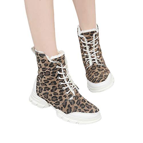 TianWlio Damen Stiefel Frauen Leopardenmuster Schuhe Flache Leder Stiefeletten Beiläufig Outdoorschuhe Warm Schuhe Kurze Stiefel Khaki 40