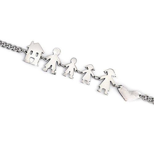 Beloved ❤  Armband Familie Damen oder Unisex aus Stahl–Armband Mama, Papa, Kind, Mädchen, Katze und Hund verschiedenen Kompositionen (Eltern + Junge + Mädchen)