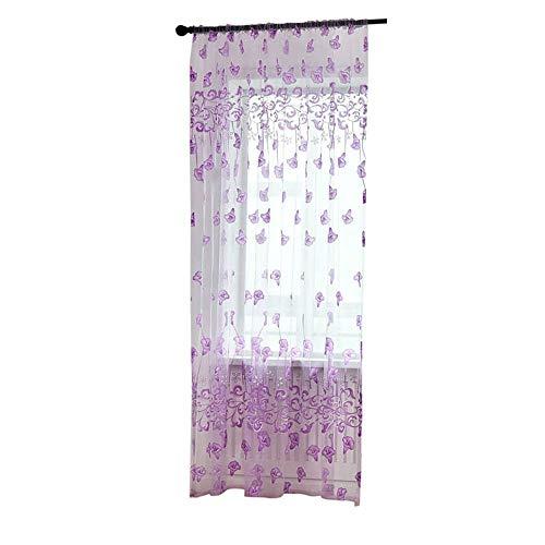Pondkoo - tenda a pannello in tulle, con stampa a foglie, per soggiorno, camera da letto, 100 x 200 cm purple