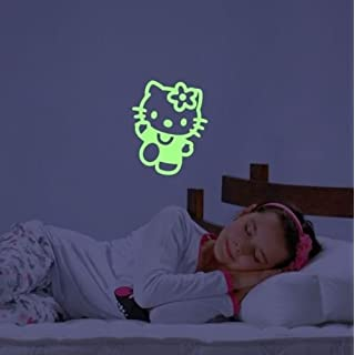 ABCUV Wall Decal Glow in the Dark Hello Kitty Decor Adhesive Sticker