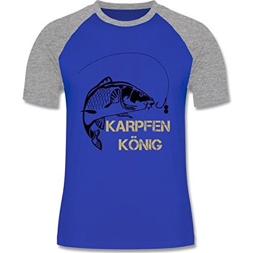 Angeln - Karpfen König - zweifarbiges Baseballshirt für Männer Royalblau/Grau meliert