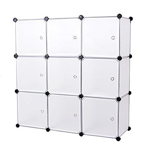 Songmics Cubes étagère de rangement blanc modulables 112 x 112 x 37 cm plastiques cadre en métal LPC116W