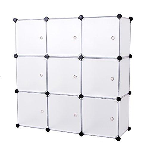 Songmics Regalsystem Aufbewahrung Badregale Kleiderschrank Schuhregal Sideboard Kommode Kapazität Aufbewahrungsbox 450L Weiß 112 x 112 x 37 cm LPC116W