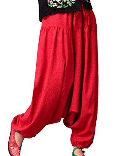 Aivtalk - Pantalones Ancho Arabe Bombachos Harem Mujeres Unisex Palazzo de Lino Suave para Mujeres Estilo Casual Vida cotidiana Verano - Rojo - Grueso