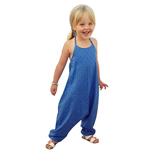 Moonuy Bébé filles été bustier bretelles sans manches sans dos barboteuse Romper Imprimer polka dot harem pantalons salopette vêtements Outfits (Bleu, 5 ans)