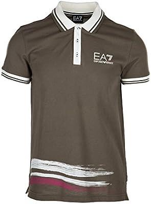 Emporio Armani EA7 camisedade manga corta cuello de polo hombre nuevo marrón
