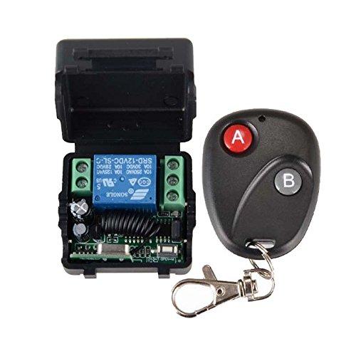 Wireless Fernbedienung Schalter, 12V 10A 1CH Drahtlose RF Fernbedienung Schalter, 433 MHz Relaisschalter 1 Transceiver mit 1 Empfänger Remote Control Für Access, türsteuerung System -