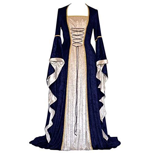 FUPOA Neue Mittelalter Kleid Halloween Kostüme für Frauen Cosplay Palace Edle Lange Roben Kostüm Kleid, Blau, (Bell Sleeve Womens Kostüm)