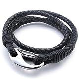 KONOV Schmuck Armband, Leder Edelstahl, Geflochten Echtleder Armreif, für Herren Damen, Schwarz Silber - Breite 14mm - Länge 21.5cm