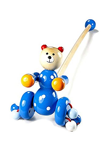 Push Along Toy Blue Bear for Toddler or Baby Boys or Girls