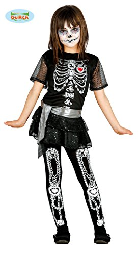mexikanisches Skelett Mädchen Kostüm für Halloween Skelettkostüm Halloweenkostüm Gr. 110-146, Größe:122/128 (Diamant Kostüm Halloween)