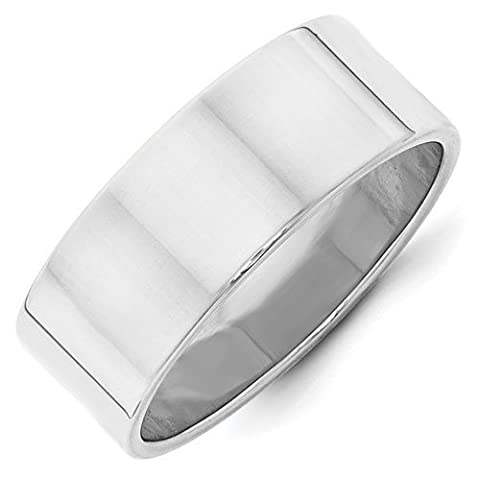 14ct White Gold 8mm Ltw Flat Band Size W 1/2 Ring