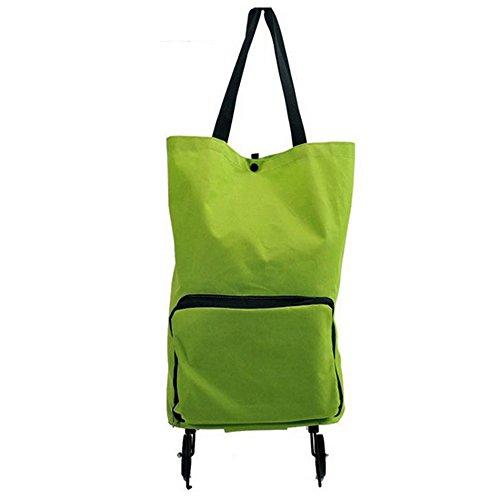 Gosear Große Kapazität Portable Zusammenklappbar Faltbare Falten Auf Rädern Einkaufen Cartbag Ins Rollen Reisetasche