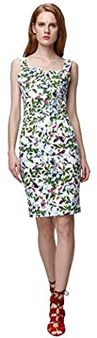 U-shot Women's 50s 60s Floral Sleeveless Casual Elegant Slim Fit Bridesmaid Cocktail Party Short Wiggle Dress