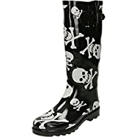 jwf Skull Cross Bones Print Black Wellington Boots