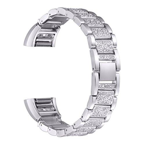 Für Fitbit Charge 2 Transer Ersatz Uhrenarmbänder Fashion Edelstahl+Strass Uhrenarmband Armband für Uhren Bandlänge: ca. 185mm (Silber)