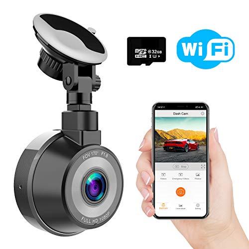 Caméra de Voiture WiFi, WiMiUS Dashcam Voiture FHD 1080P 170° Angle, Enregistreur de Conduite Magnétique avec Enregistrement en Boucle, G Capteur, WDR, Parking Surveillance, Carte SD 32Go Incluse