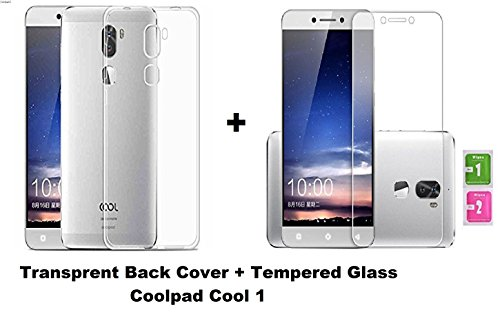 Coolpad Cool 1 Combo Offer Transparent Soft Back Cover + Tempered Glass Screen Protector by Drax