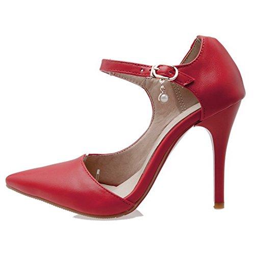 AllhqFashion Femme Matière Mélangee Boucle Pointu à Talon Correct Chaussures Légeres Rouge