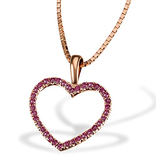 Goldmaid Damen-Herz-Halskette Bicolor Gold 2 Herzen 3 Diamanten 0,03 Karat Herzanhänger Diamantkette (Diamant-halskette 1 2 Karat)