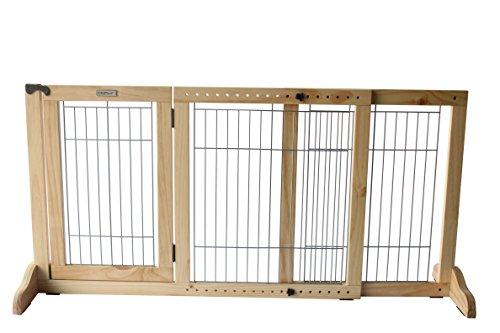 Simply Shield+ | Hunde-Barriere | Hunde-Absperrgitter | Verstellbare Breite mit Tür | Freistehend | in 3 Farben und 2 Größen erhältlich ... (M, Naturholz) (Tür-schutz Für Hunde)
