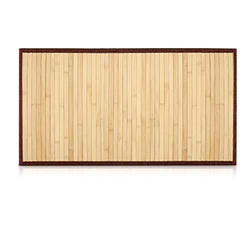 Navaris Alfombra bambú Antideslizante para el baño - Esterilla Rectangular de Madera...