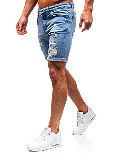 BOLF Herren Hose Kurzehose Jeans Clubwear Denim Street Style täglicher Stil The Gangster 1060 Blau S [6F6]