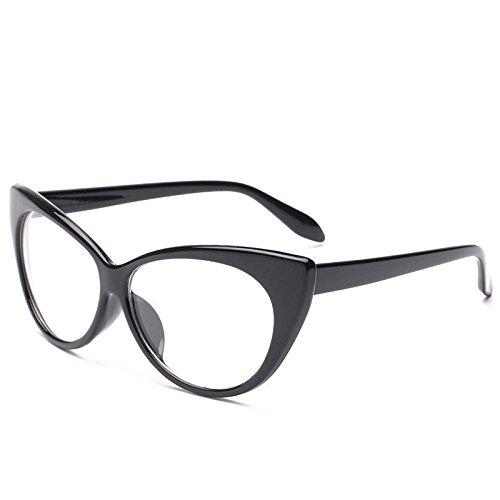 xuexue Retro- Sonnenbrille Sexy Katzenauge USA Mode Flacher Spiegel Damen Visier Mädchen Spassvogel Schutzbrillen Mode Gläser,Black