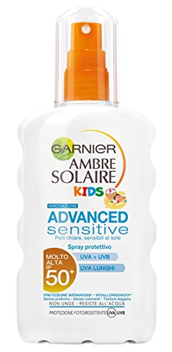 Garnier Ambre Solaire Advanced Sensitive Spray Protettivo, per Bambini, IP50+, 200 ml