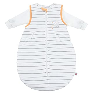 Coconette Saco de dormir bebé todo el año – 2 Piezas: saco exterior forrado y saco interior de manga larga | Forma de pera, sin costuras – Talla: 3-6 meses (62/68), a rayas beige