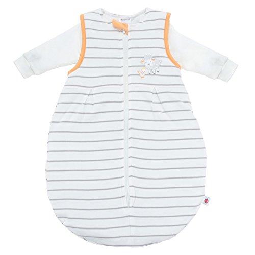 Ganzjahres Baby-Schlafsack 2-teilig - Langarm-Innensack & gefütterter Außensack, Temperaturen von 15 bis 30°C - Streifen Beige Schäfchen - Birnenform ohne störende Rücken-Nähte (Größe 50/56, 1-3 Monate)