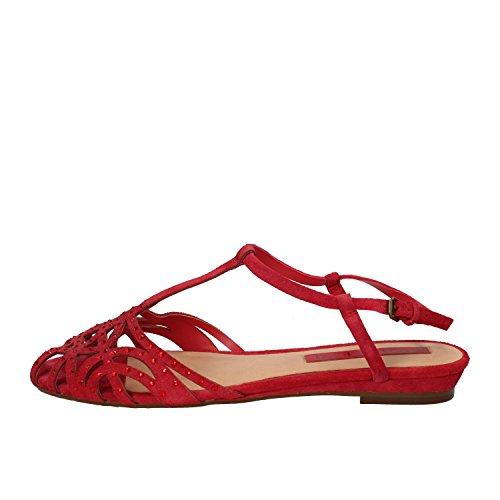 LUCA STEFANI sandali donna 39 EU rosso camoscio strass AE11