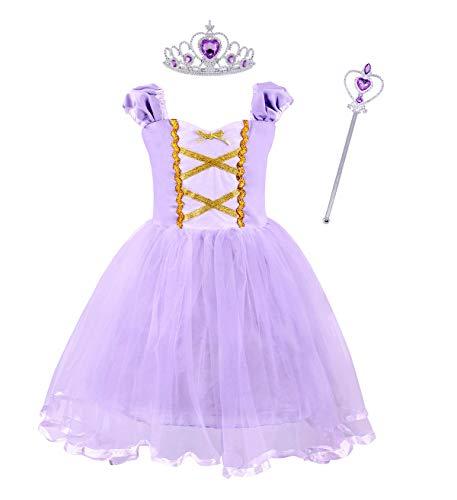 AmzBarley Prinzessin Rapunzel Kostüm Kinder Mädchen Tutu Verrücktes Kleid, Lila mit Dekorationen, 3-4 Jahre