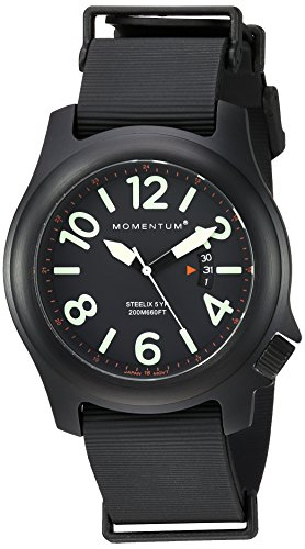 Men's Sports Watch |Steelix Nylon Adventure Watch by Momentum | IP Black Stainless Steel Watches for Men | Analog Watch with Japanese Movement | Water Resistant(200M/660FT)Classic Watch - Black / 1M-SP84B11B